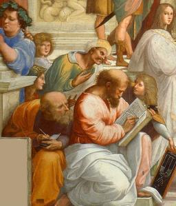 """Ibn Rushd als Schüler - Ausschnitt aus: Raffaels """"Die Schule von Athen"""" © gemeinfrei"""