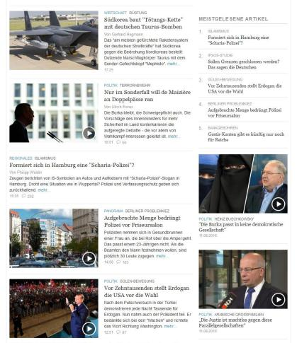 """""""Die Welt"""" vom 11.8.2016"""