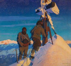 Otto Barth (1876–1916), Morgengebet der Kalser Bergführer auf dem Großglockner, 1911 ©Wiki