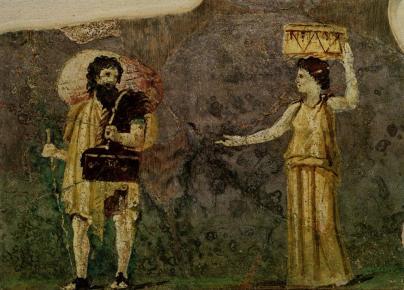 Hipparchia schließt sich Krates an - Wandbild Rom 1. Jh. © Wiki gemeinfrei